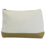 10009- BEIGE AND WHITE COSMETIC POUCH