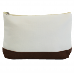 10009- BROWN AND WHITE COSMETIC POUCH