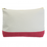 10009- CORAL AND WHITE COSMETIC POUCH