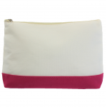 10009- HOT PINK AND WHITE COSMETIC POUCH