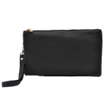 10015- BLACK PU LEATHER TRI POCKET CLUTCH / CROSS BODY BAG