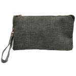 10015- GREY PU LEATHER TRI POCKET CLUTCH / CROSS BODY BAG