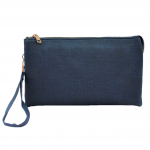 10015- NAVY PU LEATHER TRI POCKET CLUTCH / CROSS BODY BAG