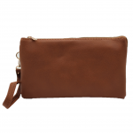 10015S- BROWN PU LEATHER TRI POCKET CLUTCH / CROSS BODY BAG