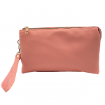 10015S- CORAL PU LEATHER TRI POCKET CLUTCH / CROSS BODY BAG