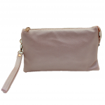 10015S- ROSE GOLD PU LEATHER TRI POCKET CLUTCH / CROSS BODY BAG