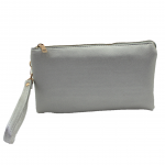 10015S- SILVER PU LEATHER TRI POCKET CLUTCH / CROSS BODY BAG