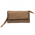 10016- BEIGE PU LEATHER TRI POCKET CLUTCH / CROSS BODY BAG