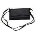 10016- BLACK PU LEATHER TRI POCKET CLUTCH / CROSS BODY BAG