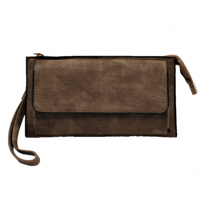 10016- BROWN PU LEATHER TRI POCKET CLUTCH / CROSS BODY BAG