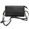 10016- GREY PU LEATHER TRI POCKET CLUTCH / CROSS BODY BAG