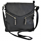 9034 - BLACK PU LEATHER CROSS BODY/ SHOULDER BAG