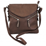 9034 - DARK BROWN PU LEATHER CROSS BODY/ SHOULDER BAG