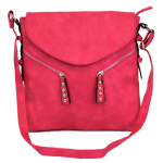 9034 - HOT PINK PU LEATHER CROSS BODY/ SHOULDER BAG