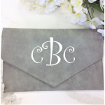 9161 -GREY PU LEATHER CLUTCH BAG