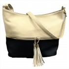 AM3016C-BEIGE/BLACK BUCKET VEGAN LEATHER CROSSBODY BAG