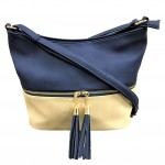 AM3016C-NAVY/BEIGE BUCKET VEGAN LEATHER CROSSBODY BAG