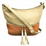 AM3016C-BEIGE/COGNAC BUCKET VEGAN LEATHER CROSSBODY BAG