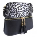 HY5245-BLACK LEOPARD VEGAN LEATHER CROSSBODY BAG