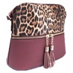 HY5245-CAMEL LEOPARD VEGAN LEATHER CROSSBODY BAG