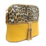 HY5245-MUSTARD LEOPARD VEGAN LEATHER CROSSBODY BAG