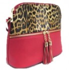 HY5245-RED LEOPARD VEGAN LEATHER CROSSBODY BAG