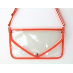 9167 -ORANGE LINING TRANSPARENT CLUTCH BAG