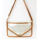 9167 -MUSTARD LINING TRANSPARENT CLUTCH BAG