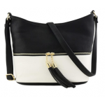 AM3016C-BLACK/WHITE BUCKET VEGAN LEATHER CROSSBODY BAG