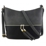 AM3016C-DARK GREY/BLACK BUCKET VEGAN LEATHER CROSSBODY BAG
