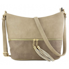 AM3016C-STONE/GRAY BUCKET VEGAN LEATHER CROSSBODY BAG