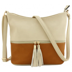 AM3016C-NUDE/COGNAC BUCKET VEGAN LEATHER CROSSBODY BAG
