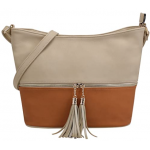 AM3016C-TAUPE/KHAKI BUCKET VEGAN LEATHER CROSSBODY BAG