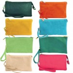 9065-8 COLORS- 8 PIECES PU LEATHER TRI POCKET CLUTCH / CROSS BODY BAG(8 COLORS)