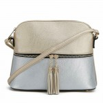 AM3031P-GOLD/SILVER DOME VEGAN LEATHER CROSSBODY BAG