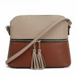 AM3031P-TAUPE/BROWN DOME VEGAN LEATHER CROSSBODY BAG