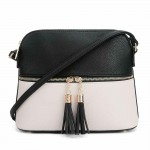 AM3031P-BLACK/NUDE DOME VEGAN LEATHER CROSSBODY BAG