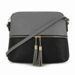 AM3031P-DARK GREY/BLACK DOME VEGAN LEATHER CROSSBODY BAG