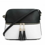 AM3031P-BLACK/WHITE DOME VEGAN LEATHER CROSSBODY BAG