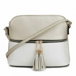 AM3031P-CHAMPAGNE/SILVER DOME VEGAN LEATHER CROSSBODY BAG