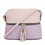 AM3031P-BLUSH/LAVENDER DOME VEGAN LEATHER CROSSBODY BAG
