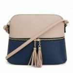 AM3031P-BEIGE/NAVY DOME VEGAN LEATHER CROSSBODY BAG