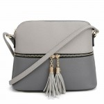 AM3031P-GREY/DARK GREY DOME VEGAN LEATHER CROSSBODY BAG