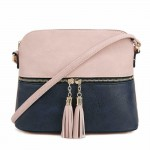 AM3031P-PINK/NAVY DOME VEGAN LEATHER CROSSBODY BAG