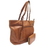 019-BROWN VEGAN LEATHER PURSE WITH WALLET