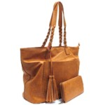 019-CAMEL VEGAN LEATHER PURSE WITH WALLET