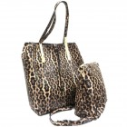 0329-BROWN LEOPARD VEGAN LEATHER PURSE WITH CROSSBODY BAG