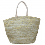 10001- BEIGE AND GOLD CANVAS TOTE BAG