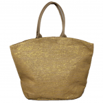 10001- CAMEL AND GOLD CANVAS TOTE BAG