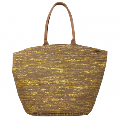 10001- COFFEE AND GOLD CANVAS TOTE BAG